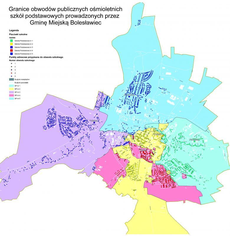 Sieć szkół podstawowych igimnazjów wBolesławcu